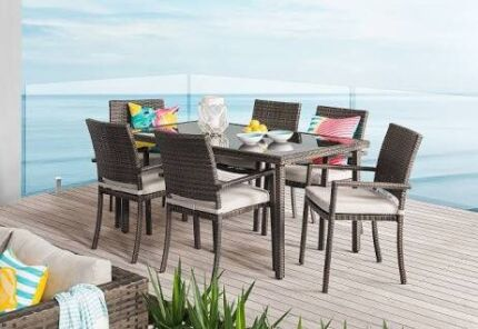 7 Piece Wicker Dining Outdoor Setting