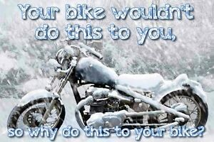 WINTER MOTORCYCLE STORAGE.