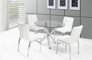 WINTER SALE ON 5PC GLASS DINING SET WITH 4 CHAIRS $299 JUST A FEW LEFT