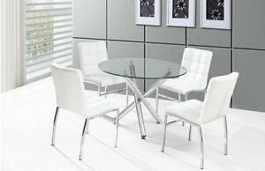 SALE ON  NOW 5PCS MODERN GLASS  DINING TABLE SET $299
