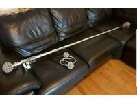 Next telescopic chrome curtain pole and matching tie backs