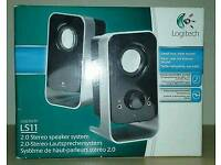 3/4 NEW Logitech PC Computer Speakers LS11 2.0 Stereo Speaker System BOXED
