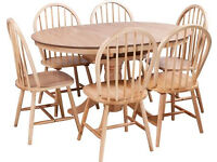 Collection Kentucky Extendable Dining Table - Natural and 6 chairs