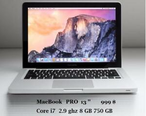 MACBOOK PRO 13 i7 2.9 GHZ 8GB 750GB + Mc.OFFICE PRO 2016,FINAL CUT PRO,LOGIC PRO,MASTER SUITE