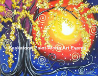 PAINT AND WINE NIGHT: Abstract or Harvest Moon Painting