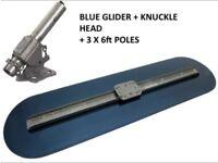 """MARSHALLTOWN 4' BIG BLUE GLIDER CONCRETE BULL FLOAT 48"""" 3 X 6FT POLE BULLFLOAT"""