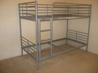 Metal Ikea bunk bed with mattresses