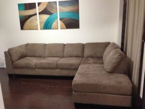 7 seater two piece micro suede sofa