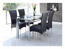 Black glass Dining Table - Plus 4 Chairs
