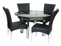 Harvey's Round Glass Table and 4 Chairs