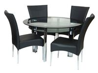 Round Dining Table Black/Clear Glass with 4 chairs