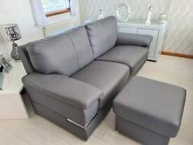 Leather sofa & Pouffe
