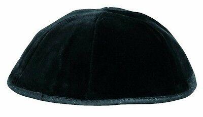 Black Velvet Jewish Kippah, Yarmulka with 6 Panels- All Sizes