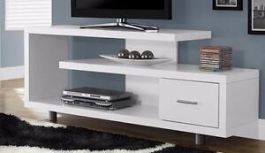 """$209 - CONSOLE TV 60""""L BLANC / Cappuccino / Taupe"""