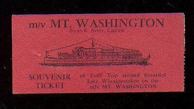 M/V MT. WASHINGTON SOUVENIR TICKET TRIP LAKE WINNIPESAUKEE AMERICA UNITED STATES