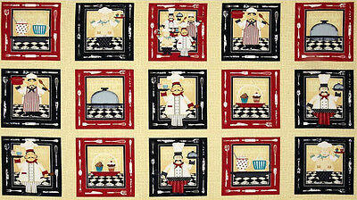 Cook Chef Baker Food Block Cotton Fabric In The Kitchen Wilmington 24