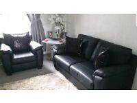 Leather Italian Sofa & Chair