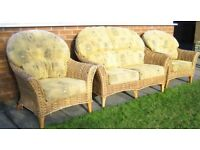 Wicker two seater setee and two chairs, washable covers and suitable for conservatory used condition