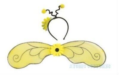 Girls Bumblebee Wings Costume Headband Bopper Antennae Childs Bumble Bee Kit (Bee Wings Costume)