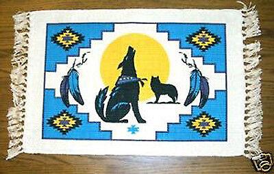 "Set of 4 matching Placemats Southwestern Howling Wolf theme 13x19"" New"