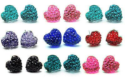 Herz Ohrstecker Kristall Ohrringe Herzen Silvester farben! 9 Paar Ohrring SATZ