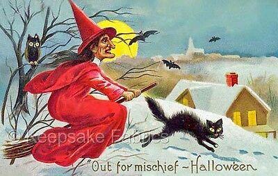 Halloween Witch Mischief Quilt Block Multi Sizes FrEE ShiPPinG WoRld - Halloween Mischief