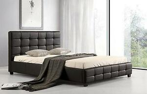 QUEEN SIZE  MODERN FAUX LEATHER PLATFORM BED $299