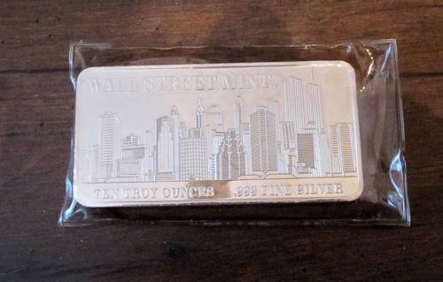 10 Oz Silver Bar Wall Street Mint Ebay
