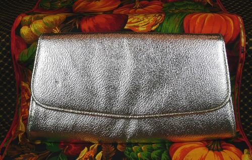 Vintage Silver Foil Metallic Small Flat Envelope Clutch Handbag