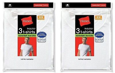 6 Hanes  White Crew Neck T-Shirt Undershirt Size S-XL Best