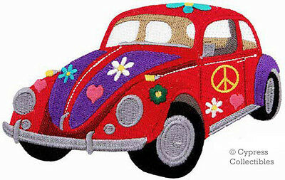 HIPPIE FLOWER POWER CAR embroidered PATCH PEACE SIGN SYMBOL iron-on APPLIQUE