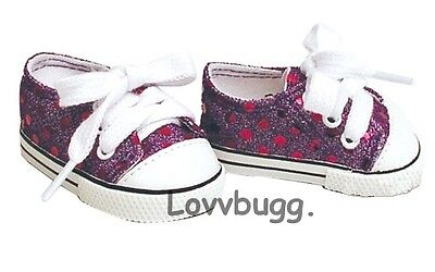 """Purple Sparkle Sequins Tennis Sneakers for 18"""" American Girl or Boy or Bitty Baby Doll Shoes"""