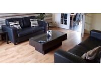 Dfs 3 seater and 2 seater leather sofa.