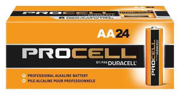 DURACELL PC1500BKD Procell Alkaline AA Battery, 24PK