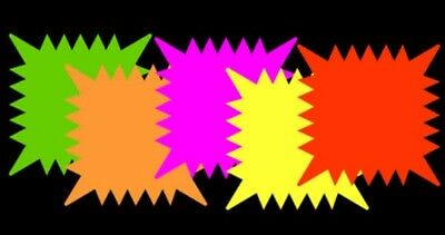 Retail Sale Tags Cards 5x 5- 40pk Fluorescent Star Burst Square Neon Neosplash