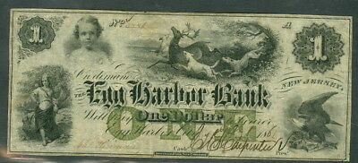 New Jersey    1 00 Egg Harbor Bank  Dogs Hunting Stag  Green One  Vf