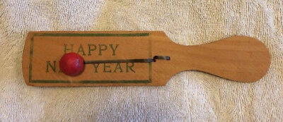 Antique New Year's Party Favor Noise Maker Wooden Paddle