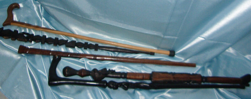 African Hand Carved Wooden Ebony Walking Sticks Arts