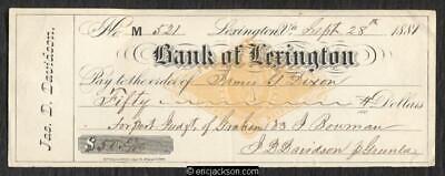 Revenue Stamped Paper RN-G1 Lexington, VA. Bank of Lexington Jas. D. Davidson