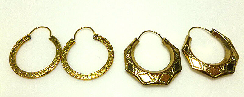 VICTORIAN NOUVEAU GOLD FILLED GF ROLLED GOLD HOOP EARRINGS PAIR SET TWO PAIRS