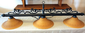 Wrought Iron Ceiling Mount Pool Table Tri Light SEE VIDEO