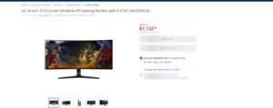 Used 34'' curved 21:9 LG gaming motitor, great condition,
