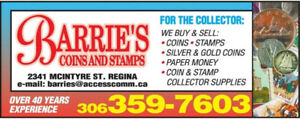 Barrie's Coins & Stamps We Buy and Sell!