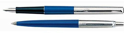 PARKER JOTTER  BLUE & STAINLESS  BALLPOINT PEN  & FOUNTAIN PEN SET NEW IN BOX