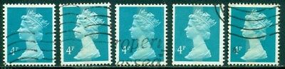 GREAT BRITAIN SG-X863, SCOTT # MH-45 MACHIN, USED, 5 STAMPS, GREAT PRICE!