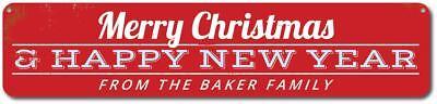 Merry Christmas & Happy New Year Sign, Custom Family Name Holiday - ENSA1001485A ()