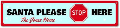 Santa Please Stop Here Sign, Custom Merry Christmas Decor, Home Sign - Santa Stop Here Sign