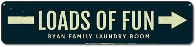 (Personalized Loads of Fun Arrow Family Name Laundry Room Sign Sign ENSA1001755)