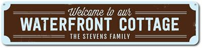 Waterfront Cottage (Waterfront Cottage Sign, Personalized Welcome Beach Sign, Custom - ENSA1001635)
