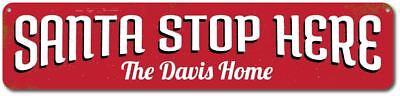 Santa Stop Here Sign, Custom Merry Christmas Sign, Personalized Sign - Santa Stop Here Sign